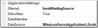 BookBindingSource kontrolünün DataSource ayarlarının yapılması.