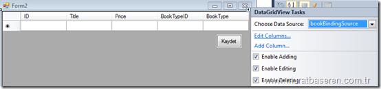 DataGridView1 kontrolünün Columns ayarlarının yapılması.