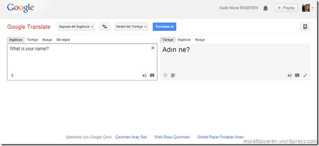 Google translate çeviri örneği