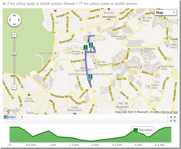 Running route 3.77km   RunKeeper