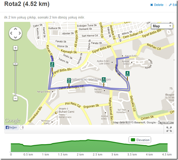Running route 4.52km   RunKeeper